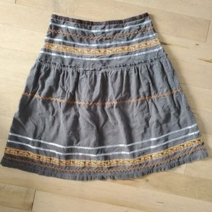 A-line corduroy skirt with embroidery